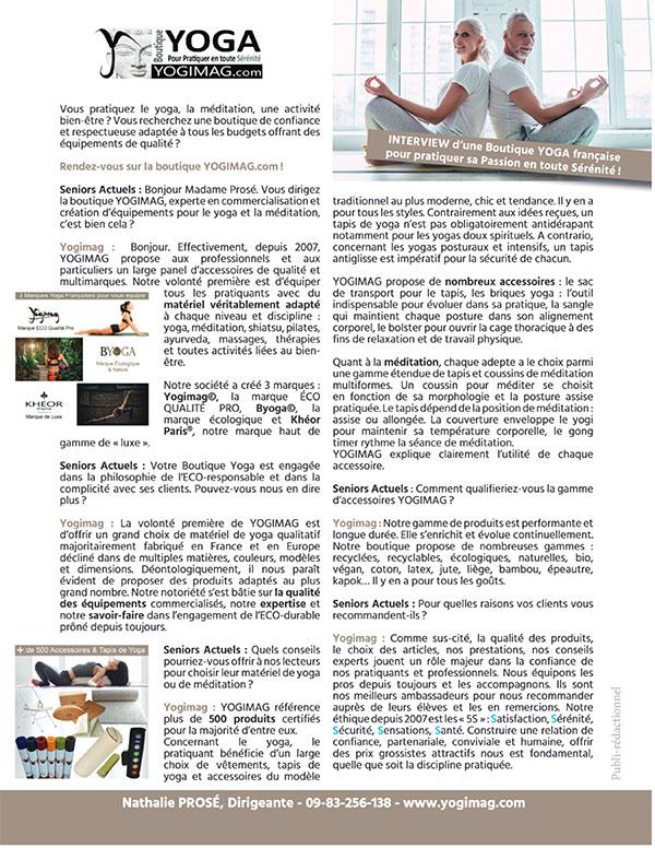 Interview Yogimag dans Seniors Actuels Magazine