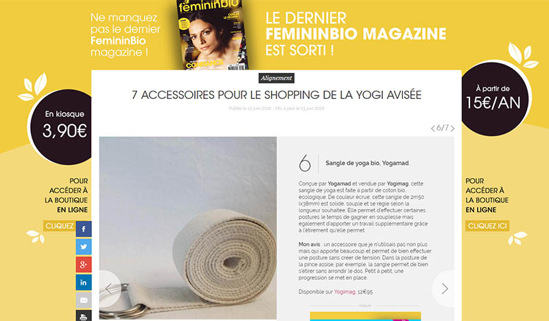 Féminin Bio Magazine : Sangle de yoga Yogimag