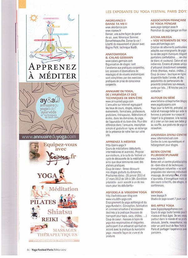 Magazine Festival du Yoga Paris Yogimag