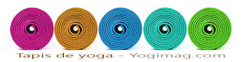 Tapis de yoga de couleur : noir, blanc, bleu, jaune, rouge, orange, vert, turquoise, violet, gris - Yogimag