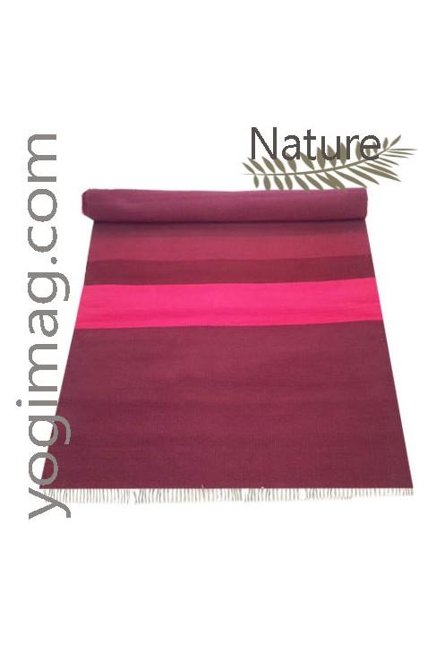 Tapis De Yoga Naturel En Coton Brut Aubergine Tiss Yogimag
