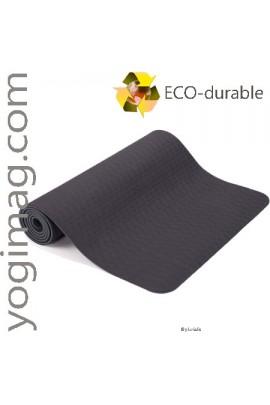 Tapis de Yoga TPE éco Gris Sérénité 6mm épais léger
