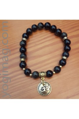 Mala bracelet en pierres d'obsidienne