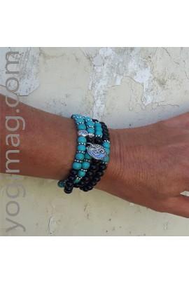 Mala Bijou agathe noire et turquoise