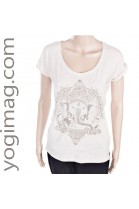 T-shirt Yoga en coton bio blanc Ganesh