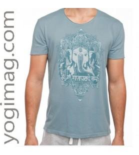 T-shirt Yoga Homme Vintage Bleu Ganesh