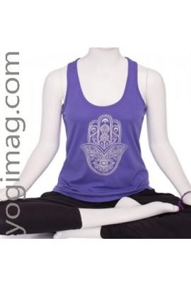 T-shirt yoga sans manche violet Hamsa