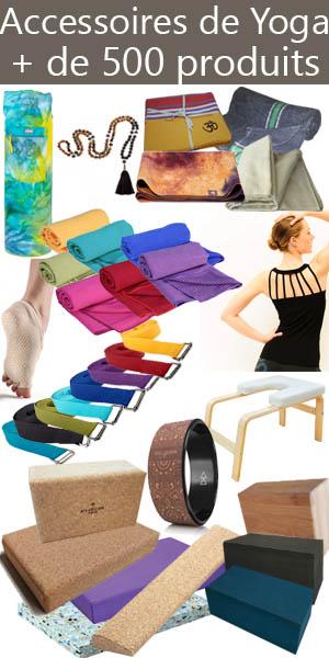 Découvrez nos accessoires de yoga sur la boutique yoga Yogimag : briques, blocs, vêtements, chaussettes, serviettes, couvertures...