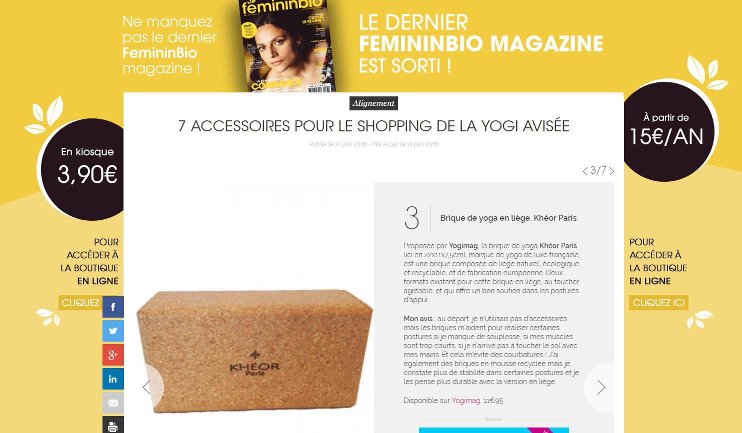 Brique yoga Yogimag sur le site du magazine Féminin Bio